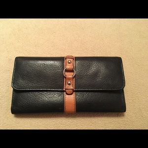 Handbags - NWOT Genuine Leather Black & Tan Wallet